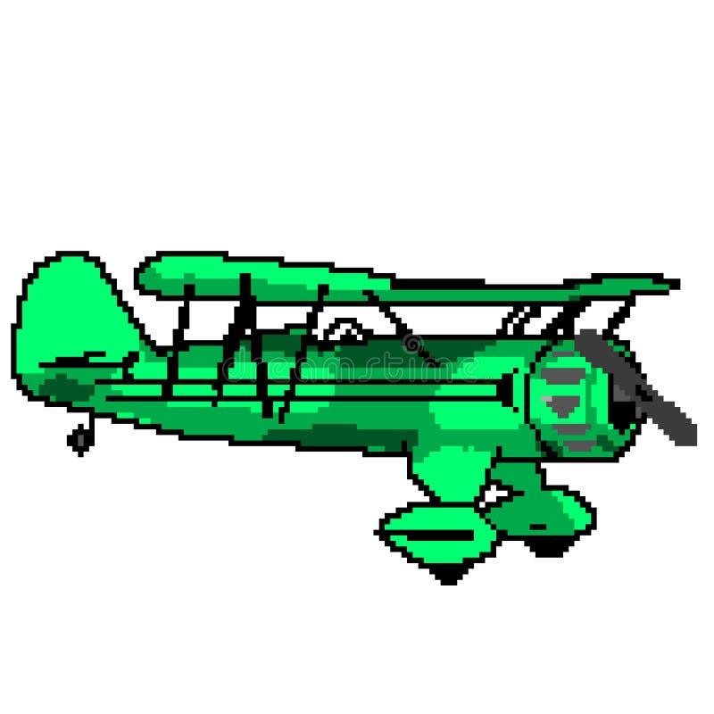 Avion vert antique tiré de bit du pixel 8 illustration stock