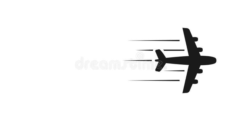 Avion volant plat - illustration stylisée Icône grise sur le fond blanc Élément d'isolement de conception Avion de ligne, avion à illustration stock