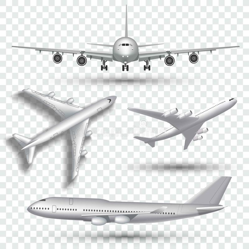 Aviones, aeroplano, avión de pasajeros en diverso vector del punto de vista Sistema del ejemplo de la parte delantera y del top d stock de ilustración