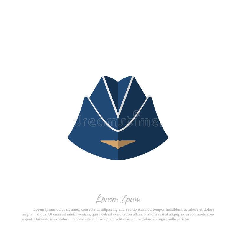 Aviones civiles de la azafata del sombrero Dibujo en un estilo plano en a ilustración del vector
