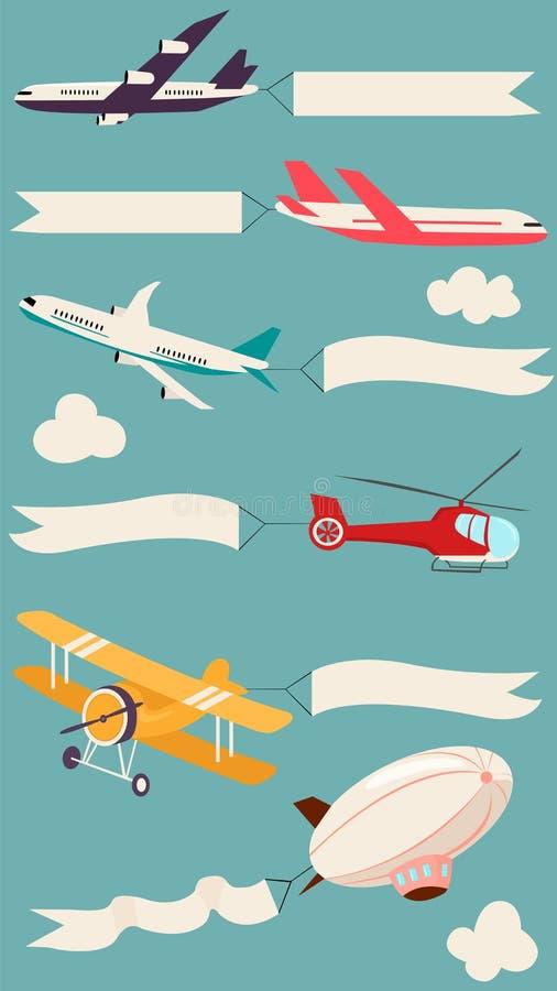 Aviones con las banderas de la cinta stock de ilustración
