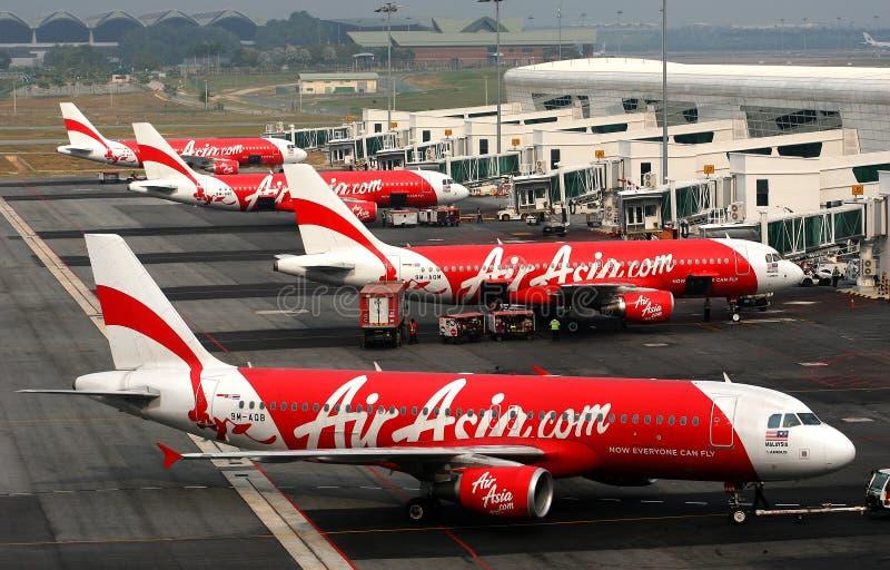 Aviones de Air Asia imágenes de archivo libres de regalías
