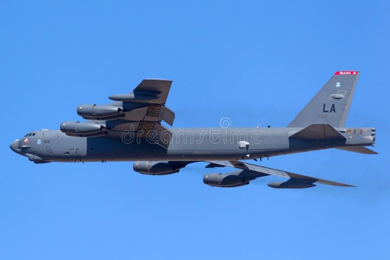 Aviones de bombardero estratégicos del U.S.A.F. Boeing B-52H Stratofortress de la fuerza aérea de Estados Unidos 61-0012 de la ba fotos de archivo libres de regalías