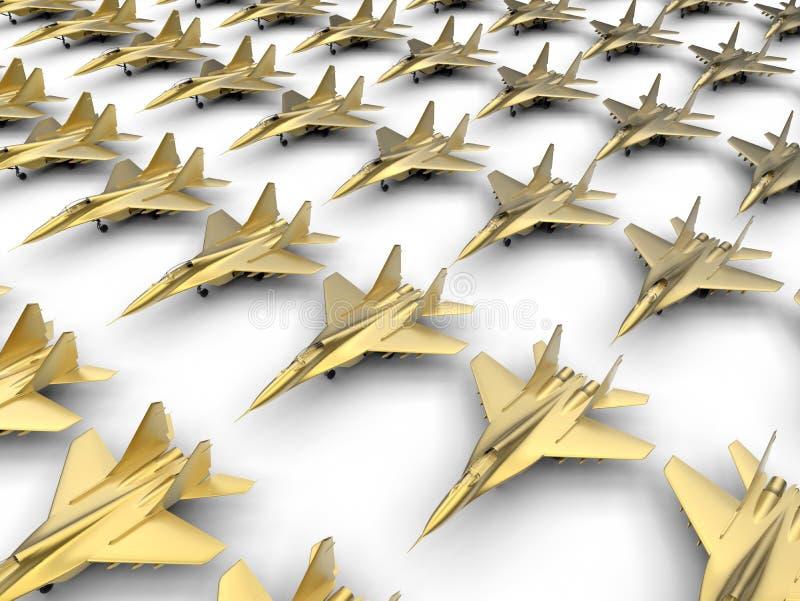 Aviones de combate de oro ilustración del vector