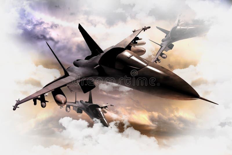 Aviones de combate en la acción stock de ilustración
