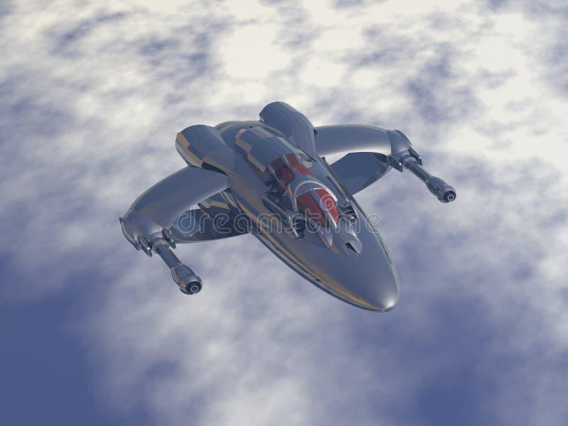 aviones de combate múltiples del papel del Doble-motor e interceptor bajo de la órbita ilustración del vector