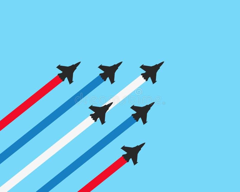 Aviones de combate militares con los rastros en un fondo azul Ejemplo de la demostración del aeroplano del vector libre illustration