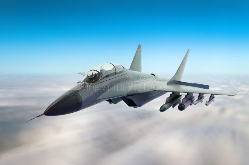 Aviones de combate militares en la velocidad, volando arriba en el cielo fotos de archivo libres de regalías