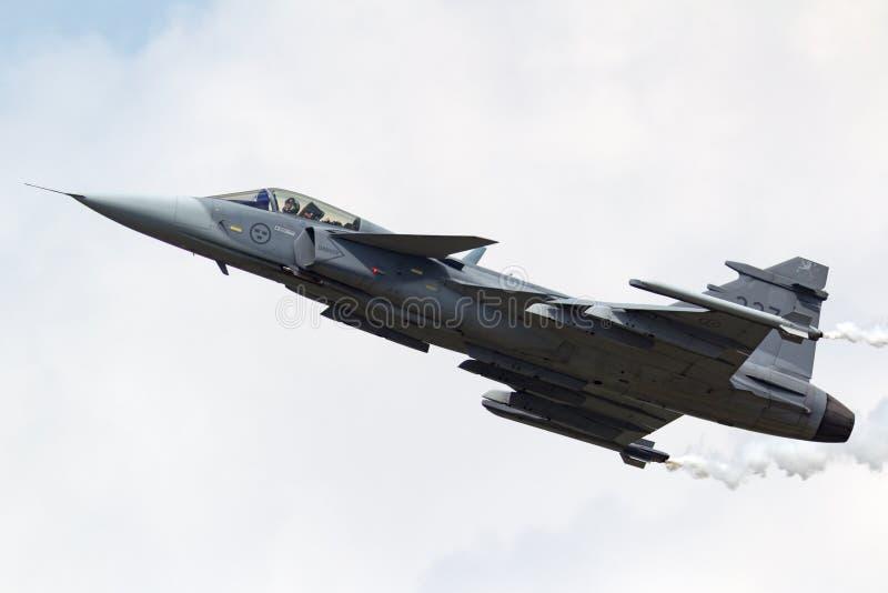 Aviones de combate multiusos suecos de Saab JAS-39C Gripen de la fuerza aérea 39227 foto de archivo libre de regalías