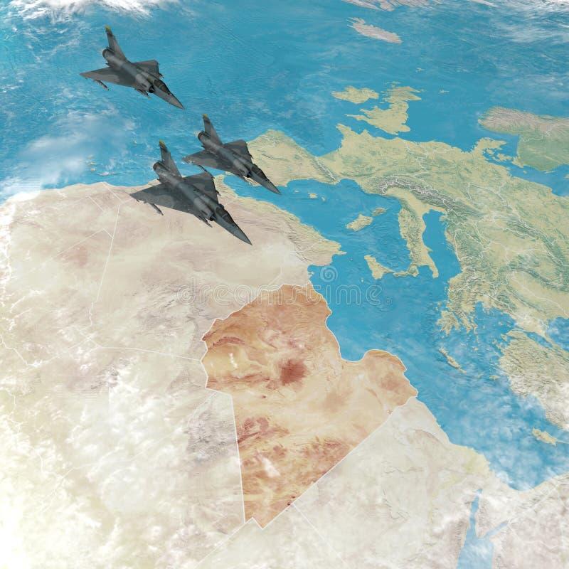 Aviones de combate que vuelan sobre Libia, mapa 3d de la África del Norte y Europa stock de ilustración