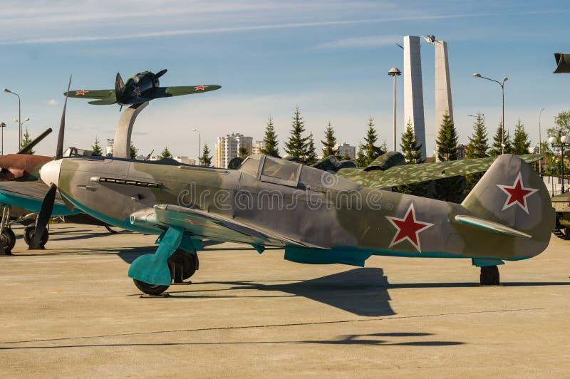 Aviones de combate soviéticos, un objeto expuesto del museo militar-histórico, Ekaterinburg, Rusia, foto de archivo libre de regalías