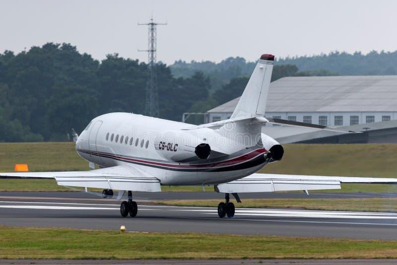 Aviones de jet del negocio del halcón 2000EX de NetJets Dassault CS-DLC fotografía de archivo libre de regalías