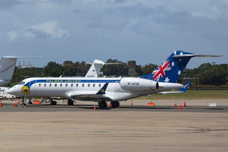 Aviones de jet privado globales del bombardero 6000 actuados por Clive Palmer y su Palmer United Party fotos de archivo libres de regalías