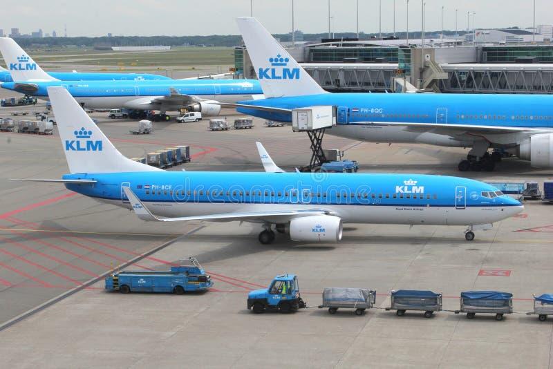 Aviones de las líneas aéreas KLM de Royal Dutch en Schiphol foto de archivo