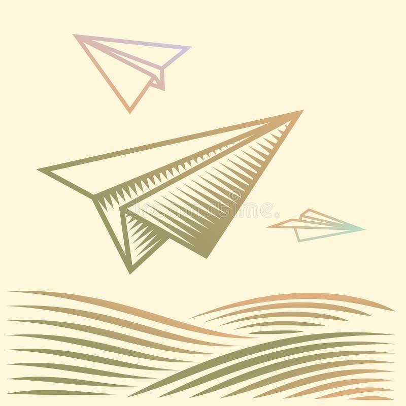 Aviones de papel ilustración del vector