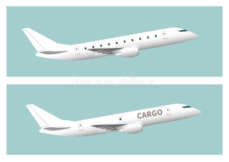 Aviones de pasajero y aviones del cargo ilustración del vector
