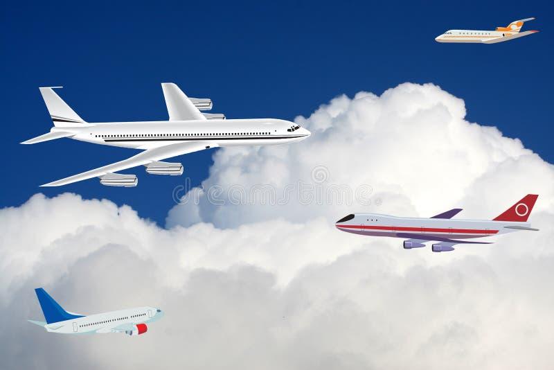 Aviones de pasajeros en el cielo fotografía de archivo