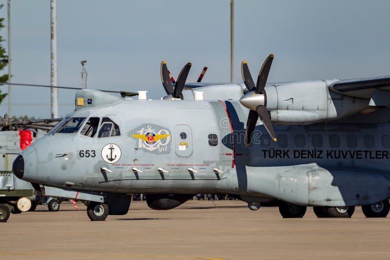 Aviones de patrulla marítima turcos de la CASA CN-235-100MPA de Airtech de la marina de guerra TCB-653 fotos de archivo libres de regalías