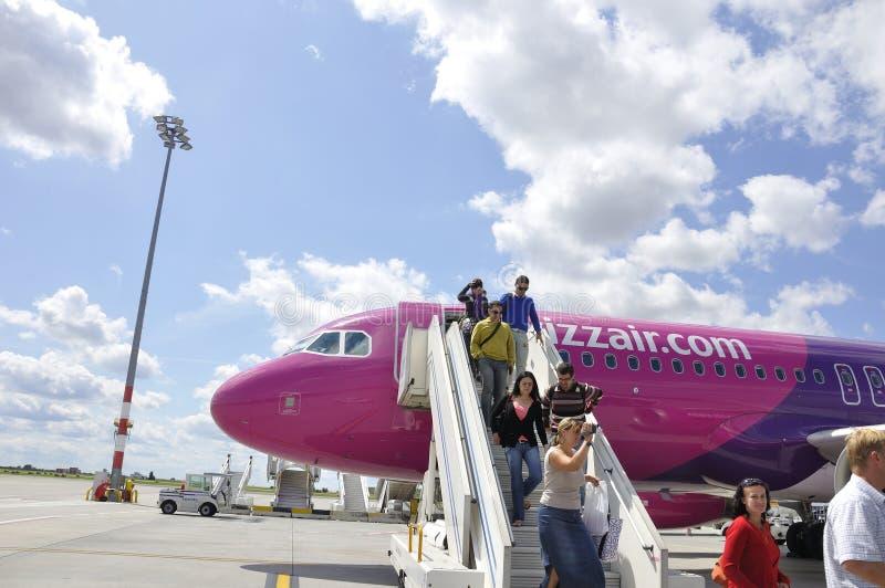 Aviones de Wizzair fotografía de archivo libre de regalías
