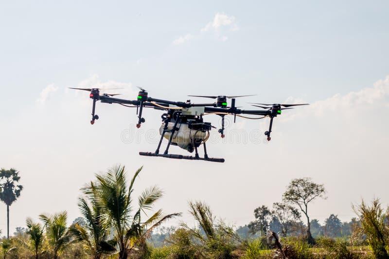 Aviones del abejón de la agricultura para cultivar la mosca en el cielo imágenes de archivo libres de regalías
