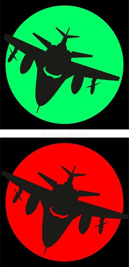 Aviones del cazabombardero y luna o sol militar ilustración del vector