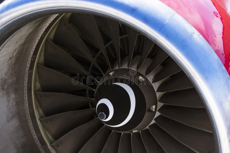 Aviones del motor a reacción de las cuchillas de turbina civiles imágenes de archivo libres de regalías