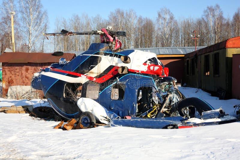 Aviones - el helicóptero estrellado imagenes de archivo