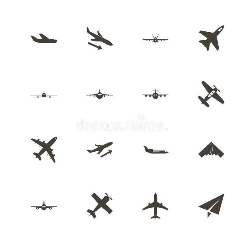 Aviones - iconos planos del vector libre illustration