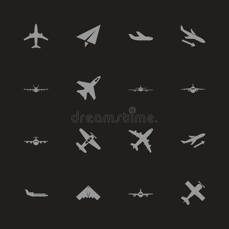 Aviones - iconos planos del vector stock de ilustración