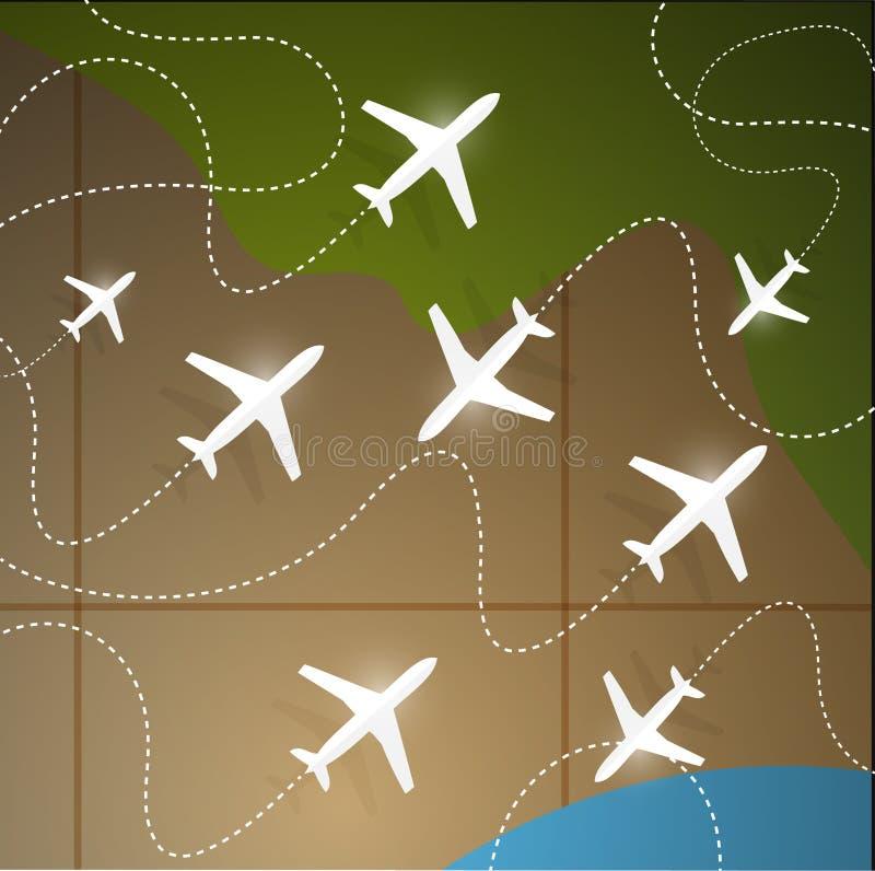 aviones que vuelan alrededor del diseño del ejemplo de la tierra ilustración del vector