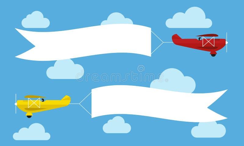 Aviones que vuelan con las banderas de la publicidad Plantilla para el texto Ilustración del vector stock de ilustración