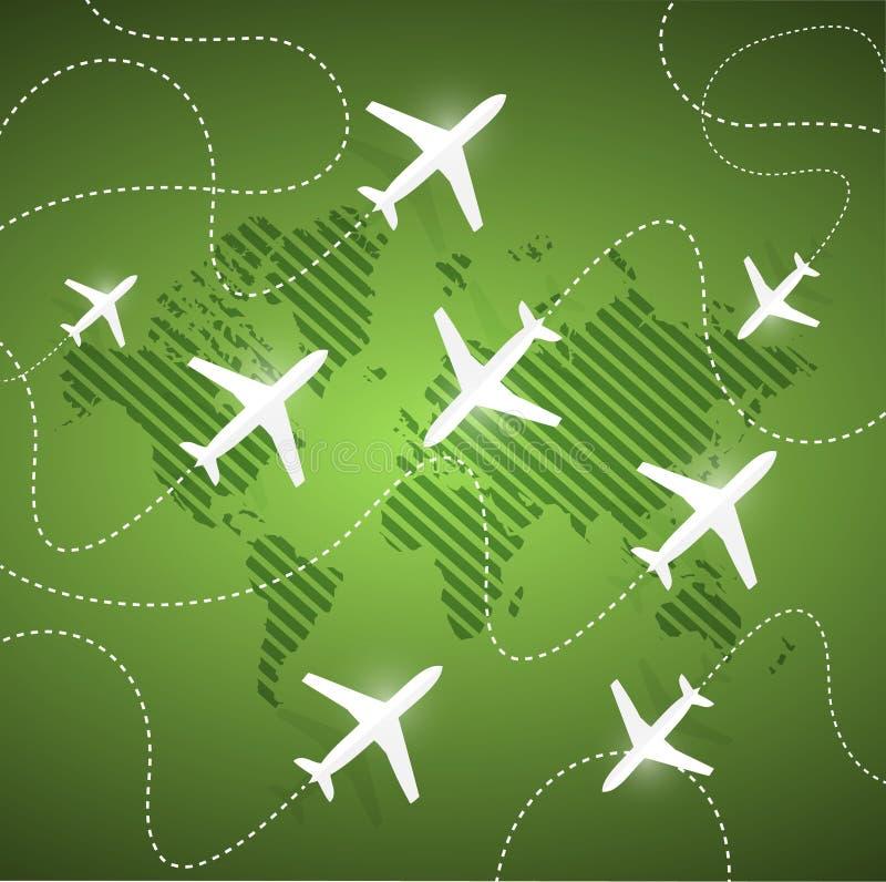 Aviones que vuelan en el mundo entero Ilustración libre illustration