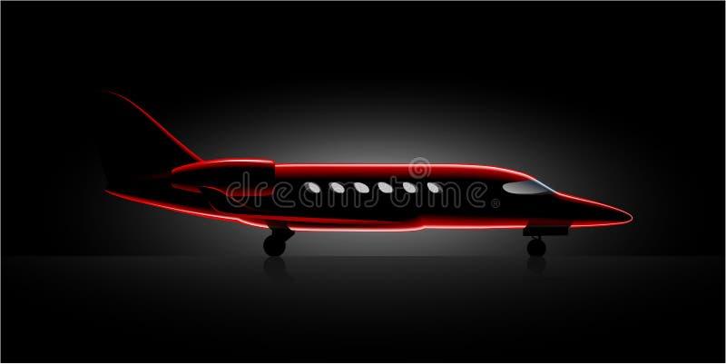 Aviones realistas de la clase de negocios del jet privado en el hangar oscuro stock de ilustración