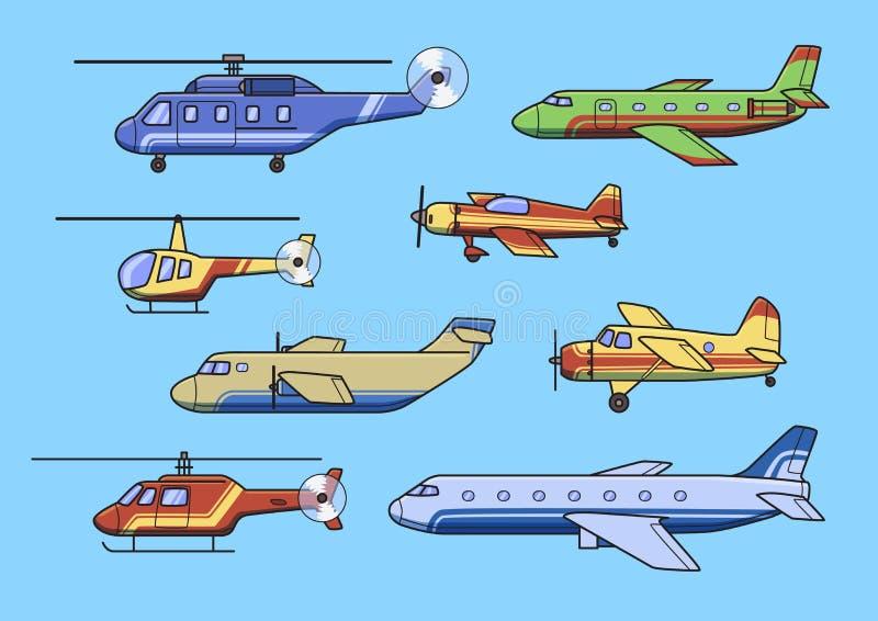 Aviones, sistema de aeroplanos y helicópteros Ejemplo plano del vector Aislado en fondo azul ilustración del vector