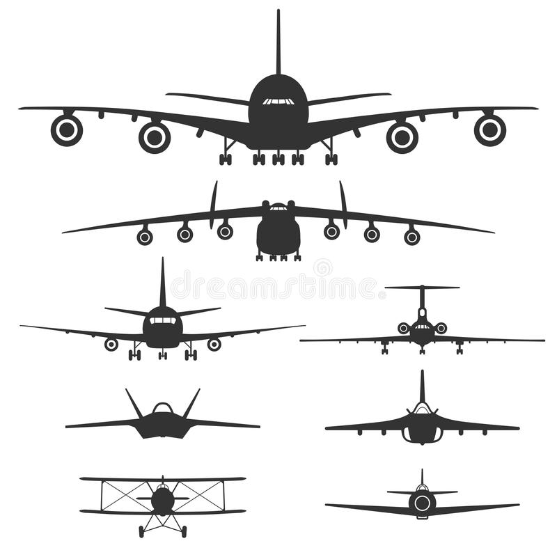 Aviones Sistema de siluetas negras aisladas en el fondo blanco ilustración del vector