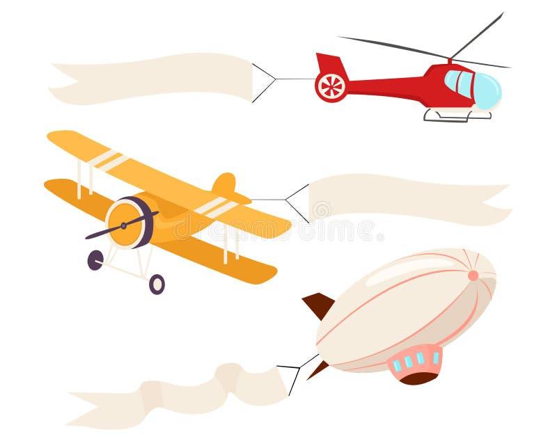 Aviones y helicópteros que vuelan stock de ilustración
