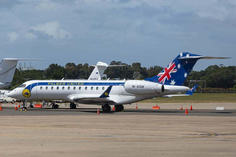 Avions à réaction privés globaux de bombardier 6000 exploités par Clive Palmer et son Palmer United Party photos libres de droits
