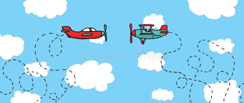 Avions aériens de duel/bande dessinée dans la bataille illustration libre de droits