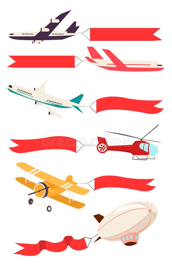 Avions avec les bannières rouges de ruban illustration stock