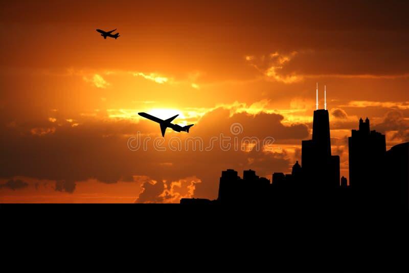Avions Chicago de départ illustration stock
