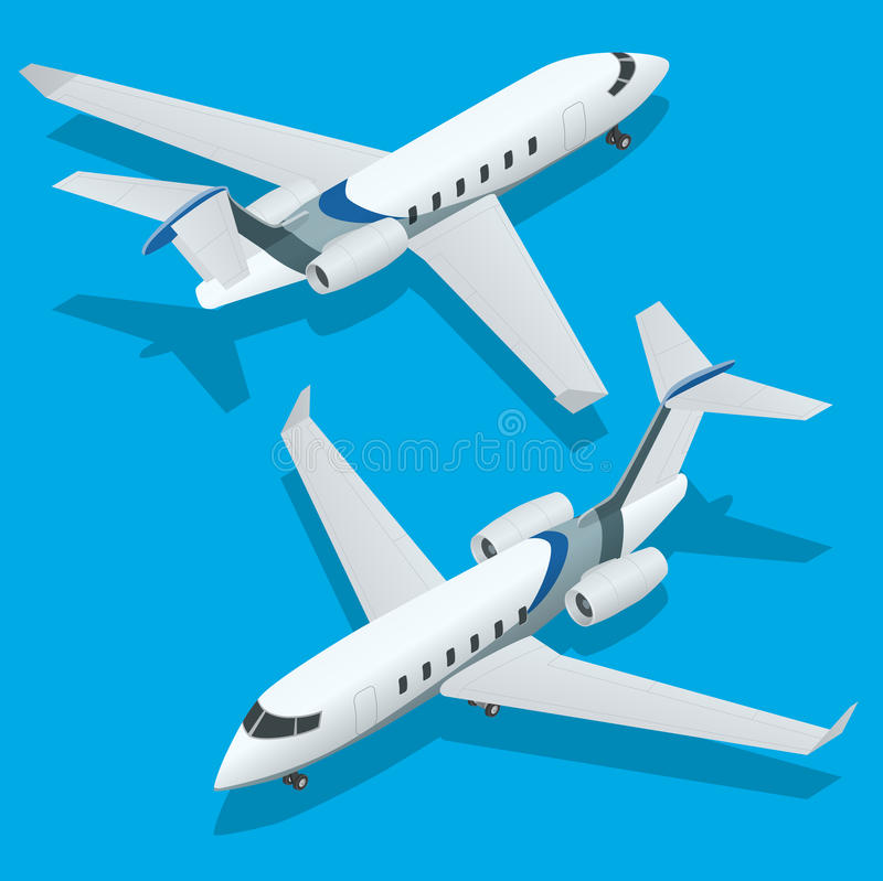 Avions d'affaires Avion à réaction privé Avion Avions à réaction privés Illustration isométrique plate du vecteur 3d pour l'infog illustration de vecteur
