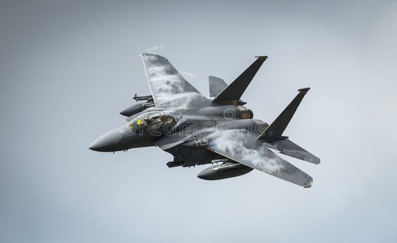 Avions d'avion de chasse d'Eagle de la grève F15 photographie stock libre de droits