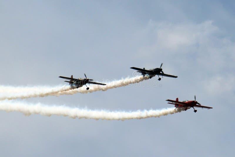 3 avions dans la formation image stock