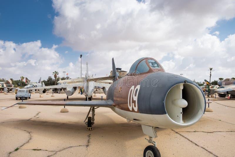 Avions Dassault Mystère IVA, 520 de cru montrés au musée israélien de l'Armée de l'Air photos libres de droits