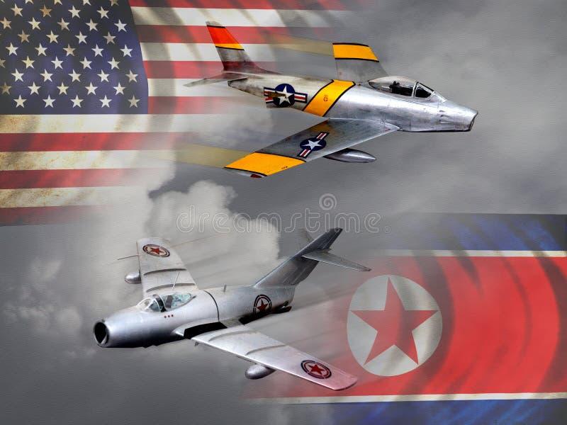 Avions de Guerre de Corée de style de vintage illustration stock