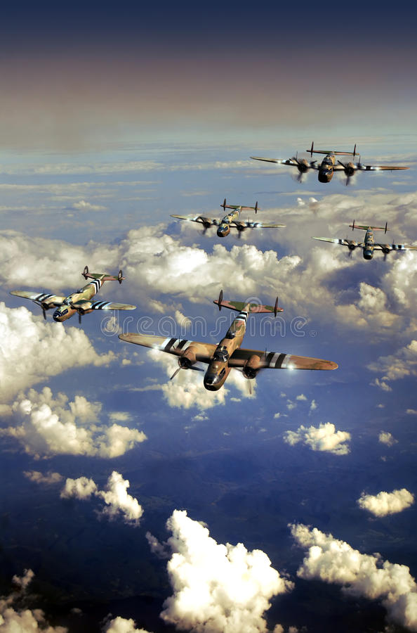 Avions de la deuxième guerre mondiale illustration libre de droits