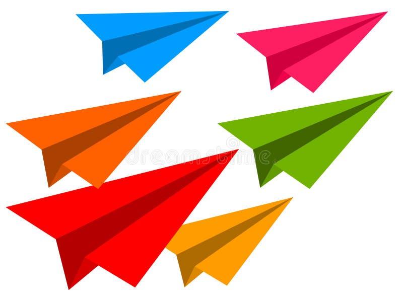 Avions de papier de couleur illustration stock