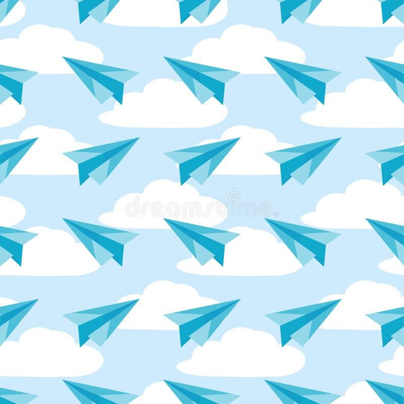 Avions de papier sur le ciel avec le modèle sans couture de nuages Vecteur d'avions illustration libre de droits