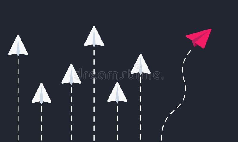 Avions de papier volants diff?rent pensez Illustration de vecteur illustration de vecteur
