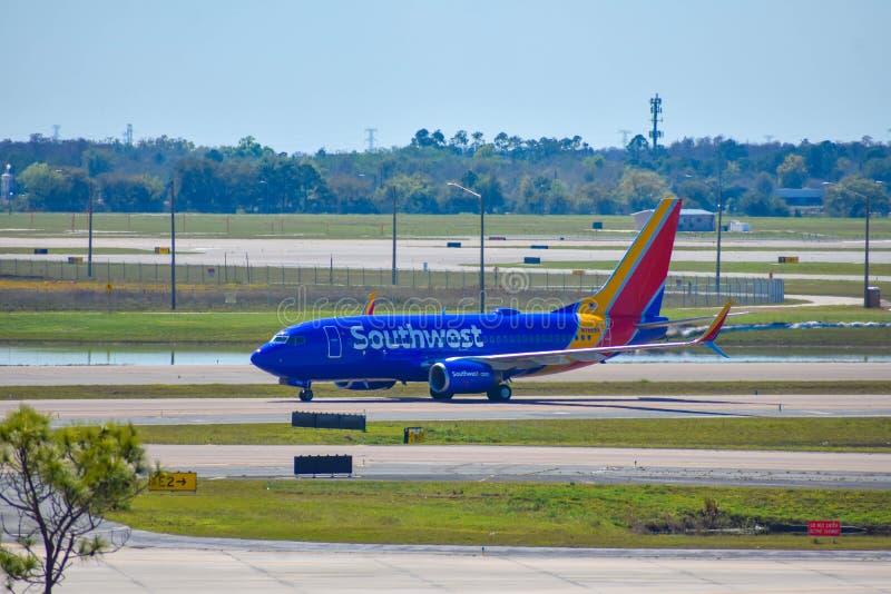 Avions de sud-ouest sur la piste se préparant au départ à Orlando International Airport MCO 1 photo libre de droits